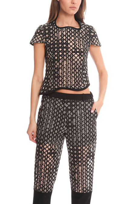 3.1 Phillip Lim Crop Shirt - Black/ivory