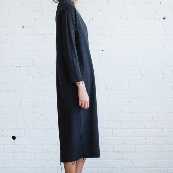Black Crane Quilted Long Dress