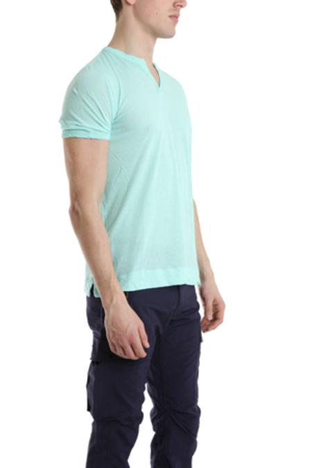 V::ROOM Slit Neck T-Shirt - Mint Blue