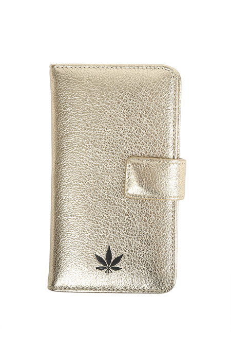 Blue&Cream iPhone Wallet Case - Gold