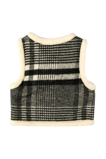 Kids Oaks of Acorn Fuzzy Monochrome Vest - Charcoal Grey