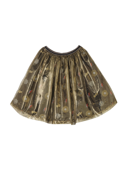 Kids Oaks of Acorn Disco Print Party Skirt - Multi/Gold