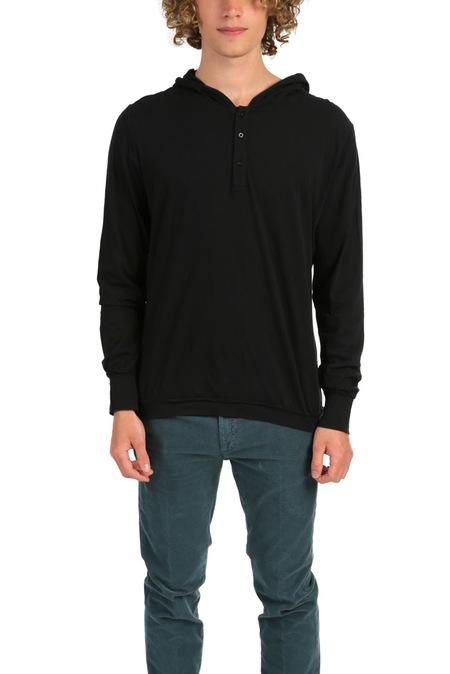 Blue&Cream Henley Hoody Sweater - Black