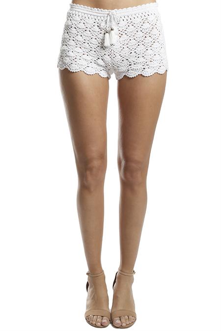 Poupette St Barth Rania Boxer Short - White Crochet