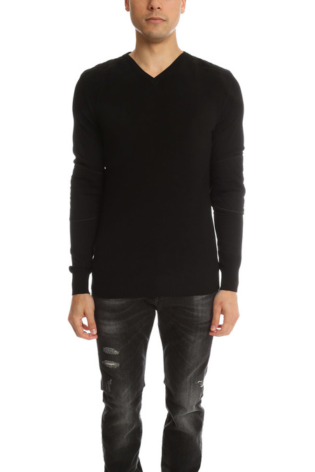 Pierre Balmain Quilted V Neck Sweater - Black