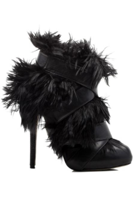 Chrissie Morris Claudia Alpaca Fur Bootie Shoes - Black