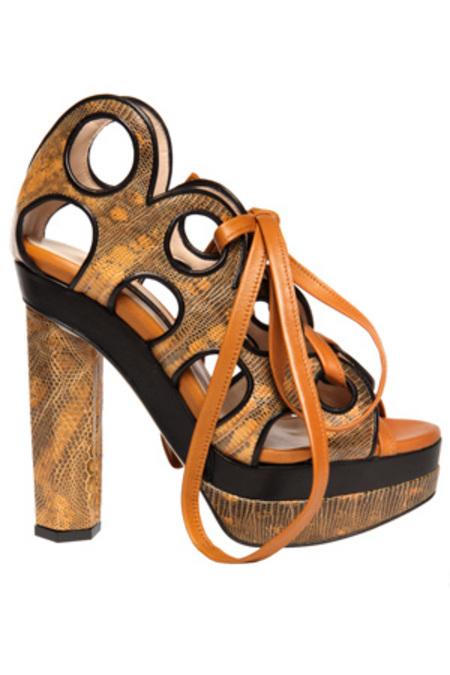 Chrissie Morris Lilla Lizard Platform Shoes - Yellow