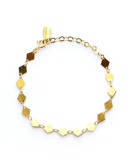Jennifer Tuton Diamond Disc Bracelet - 24K gold