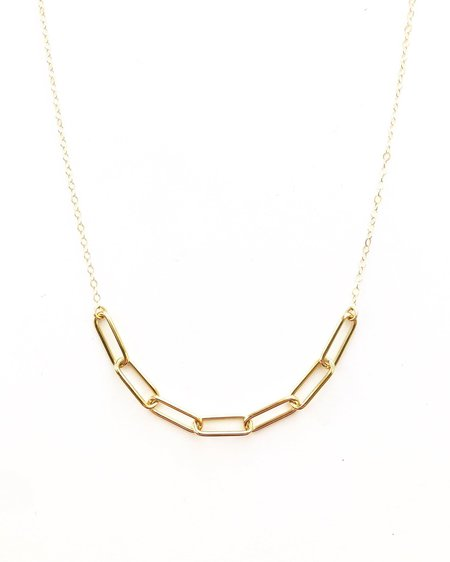 Jennifer Tuton Open Links Bar Necklace - Gold