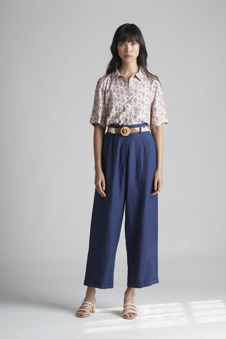 Christine Alcalay Cuffed Pleated Barrel Trouser - Midnight
