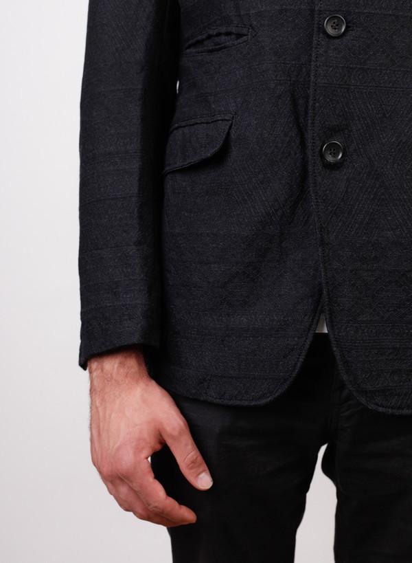 Men's Engineered Garments Andover Jacket Charcoal Wool Geo Jacquard