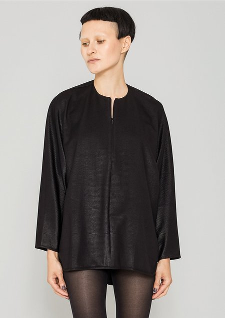 Berenik Oversized Tech Laces Stretch Zip Shirt - Black