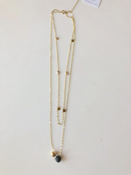 amber e lea Double Layer Necklace - Gold/Black