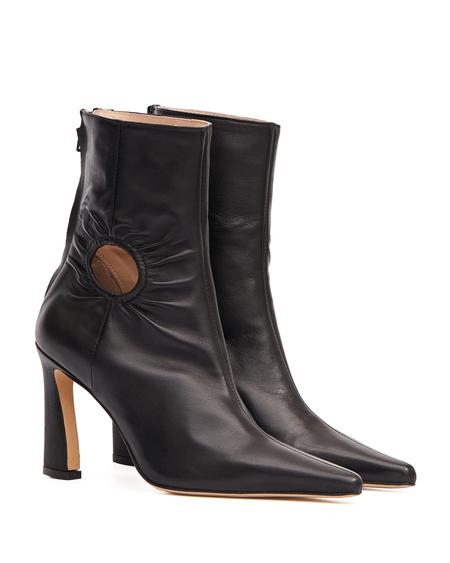 Kalda Fory Window Leather Ankle Boots - Black
