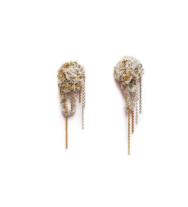 Arielle De Pinto Fleuret Earrings in Silver + Gold + Haze