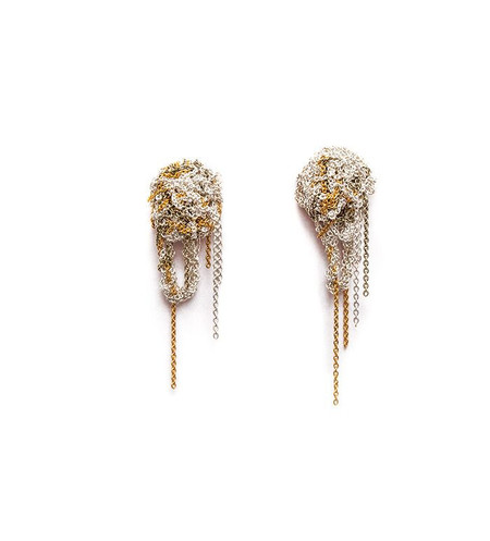 Arielle De Pinto Fleuret Earrings in Silver + Gold + Haze