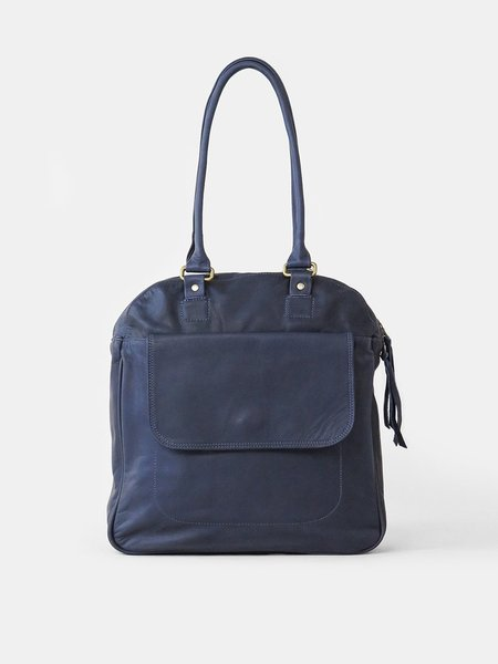 Erica Tanov leather bowling bag - navy
