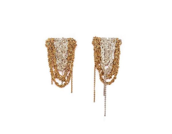 Arielle De Pinto Prestige Earrings in Silver + Gold