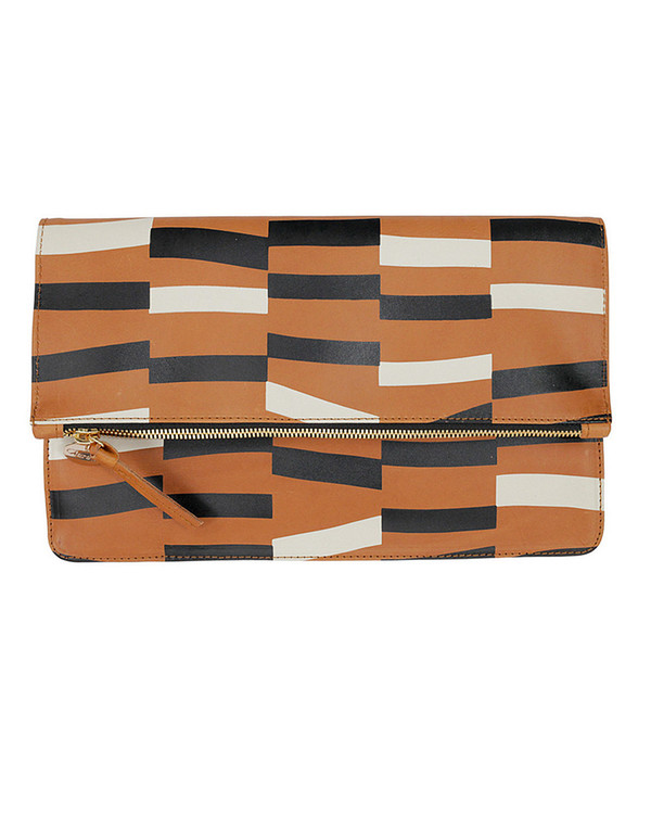 Clare V. Brown Leather Margot Foldover Clutch with Abstract Print