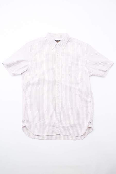 Beams Plus Short Sleeve Button Down Oxford Candy Stripe - WINE