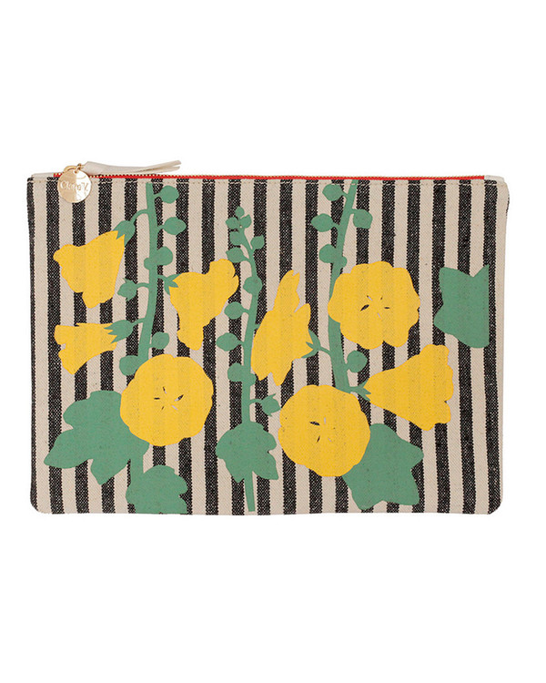 Clare V. Striped Canvas Flat Clutch with Painted Floral Pattern