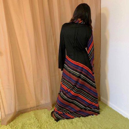 Vintage Kintsugi Striped Maxi Dress - Black