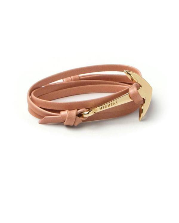 Miansai Gold Anchor And Salmon Leather Wrap Bracelet