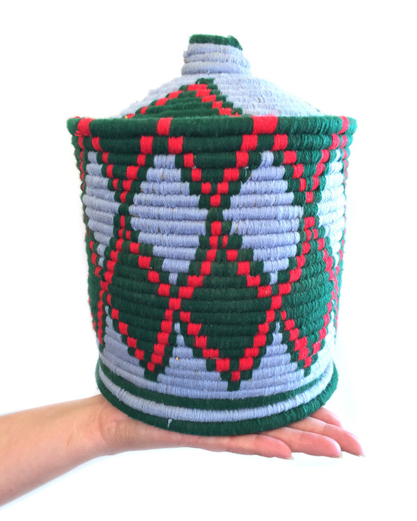 Found Moroccan Bread Basket in Blue and Green