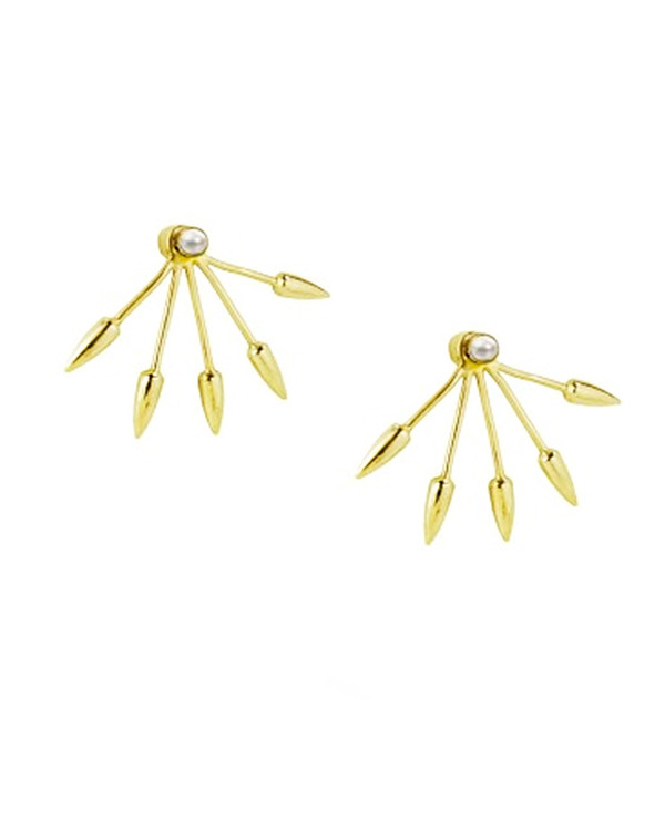 Pamela Love 5 Spike Ear Jacket in Gold and White Pearl
