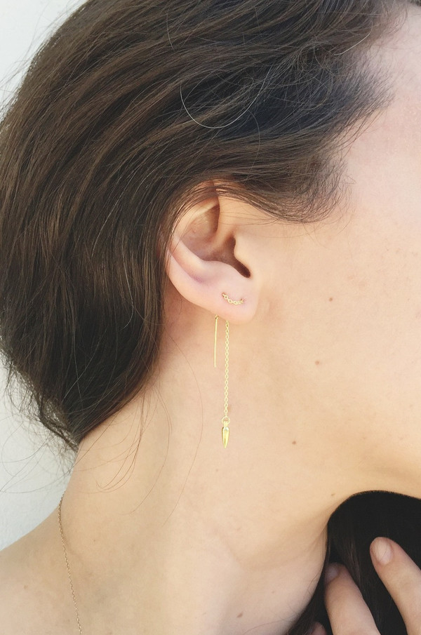 Pamela Love Suspension Ear Threaders in Yellow Gold