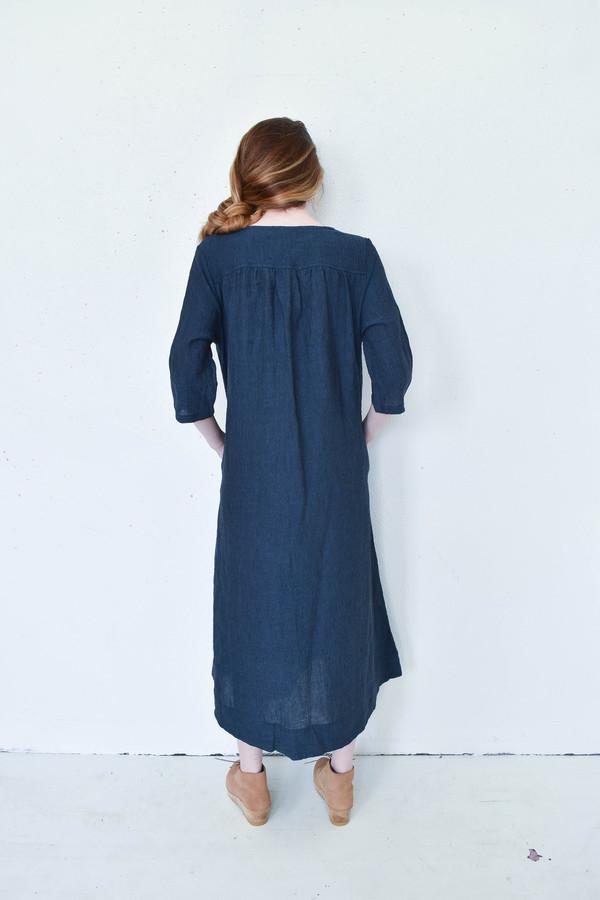 Sunja Link Back Yoke Dress in Navy