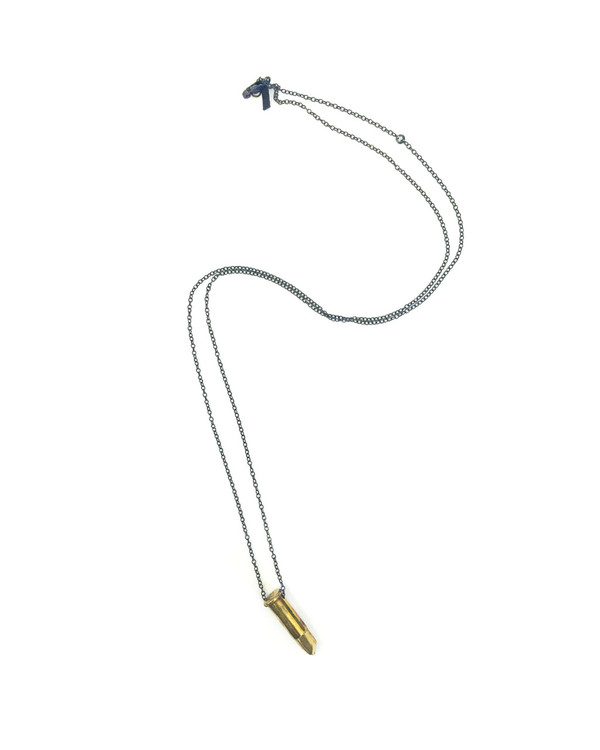 Unearthen Small Cast Brass Bullet Pendant Necklace