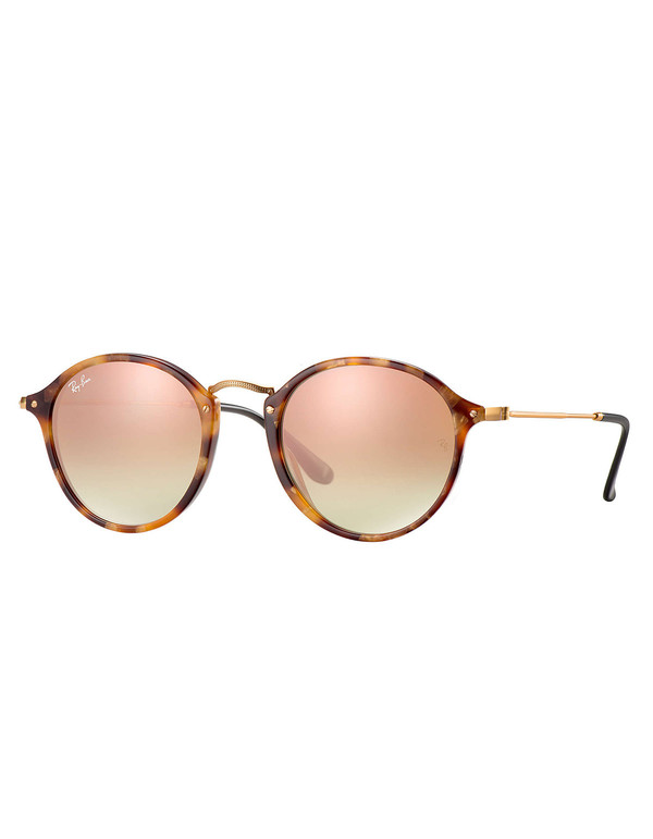Ray-Ban Round Fleck Flash Lenses Gradient Sunglasses Tortoise Copper Gradient Flash