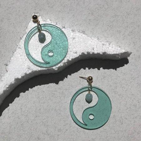 Wasted Effort Yin Yang Earrings - Sage