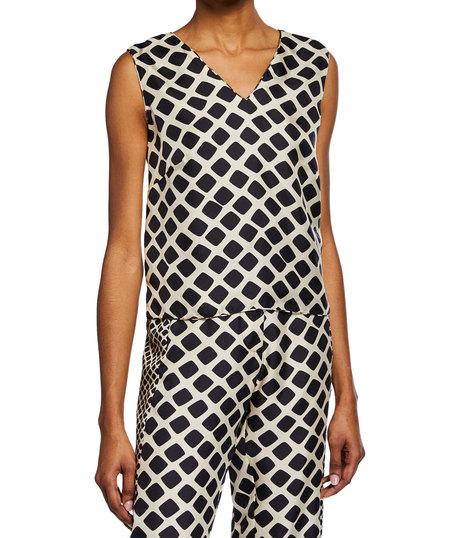 La Prestic Ouiston silk v neck reversible tank - geometric/polka dots