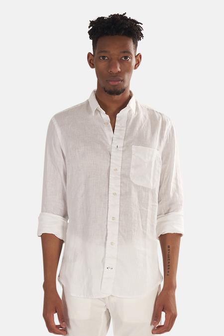 Blue&Cream Linen Button Down Top - White