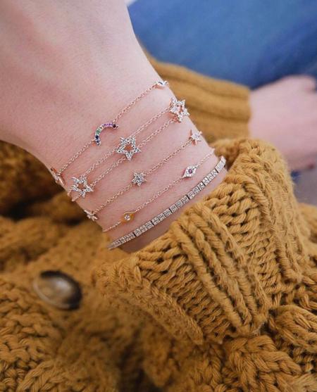 EF Collection 5 Mini Diamond Star Chain Bracelet - 14K White Gold
