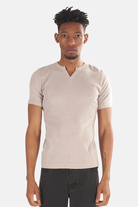 V::ROOM Slit Neck T-Shirt - Speckled Grey