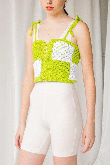 Lilliez Cotton Corset - Lime Checkered