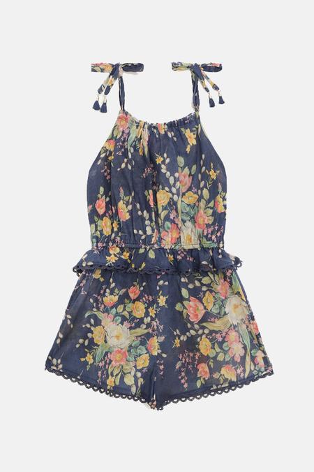 Kids Zimmermann Zinnia Tie Playsuit - Cobalt Floral