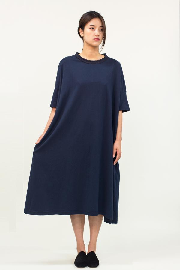 Universal Tissu Oversized Cotton Dress- Navy