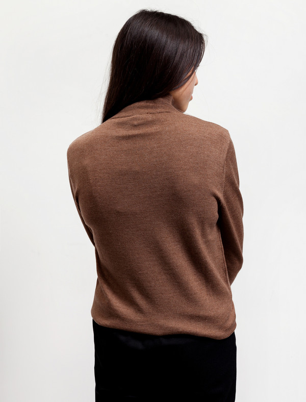 Sunspel Womens Funnel Neck Jumper Copper Brown