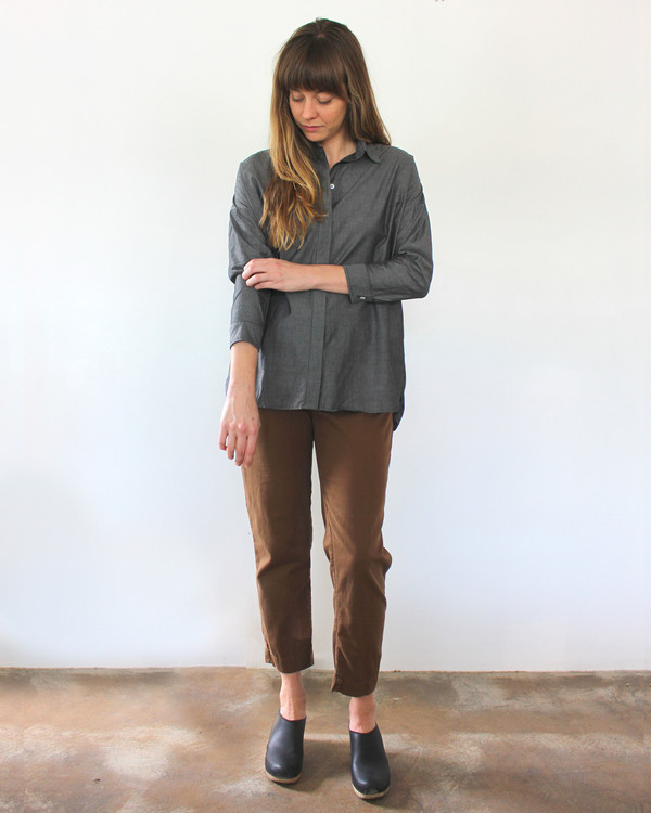esby STELLA L/S BUTTON DOWN - CHARCOAL