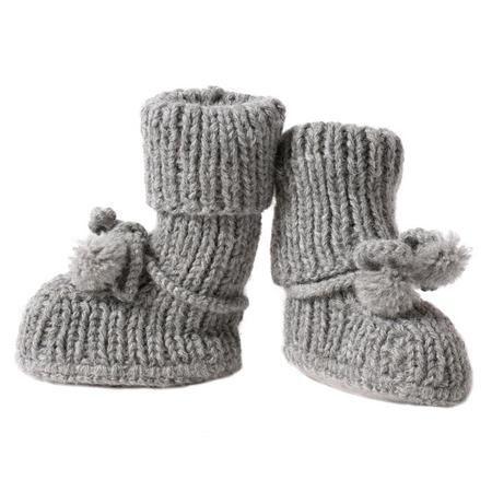 Kids Tane Organics Alpaca Sock Booties with Ties - Frost Grey