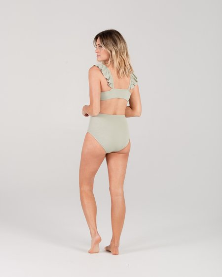 Rylee + Cru Pique Ruffle Sleeve Bikini Top - Seafoam