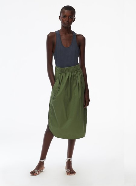 Tibi Feather Weight Cotton Twill Full Skirt - Olive