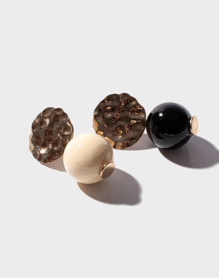 Modern Weaving Petite Textured Globe Earrings - Noir/Creme