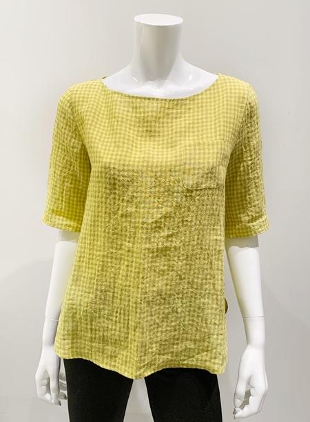 A Punto B Linen Gingham 1/2 Sleeve Top - Giallo