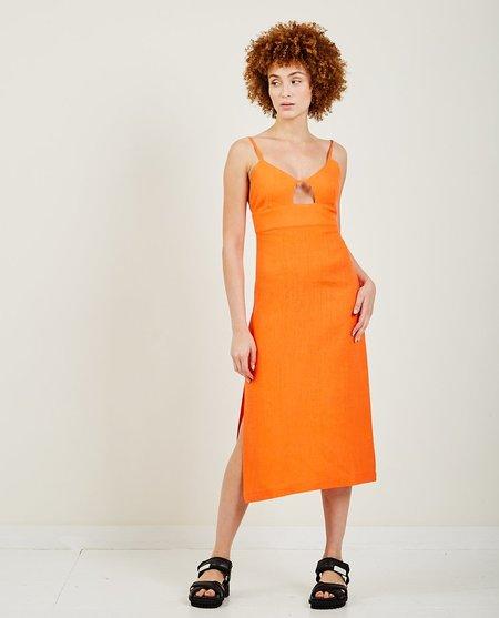 Paloma Wool Dalini Linen Midi Strap Dress - Red