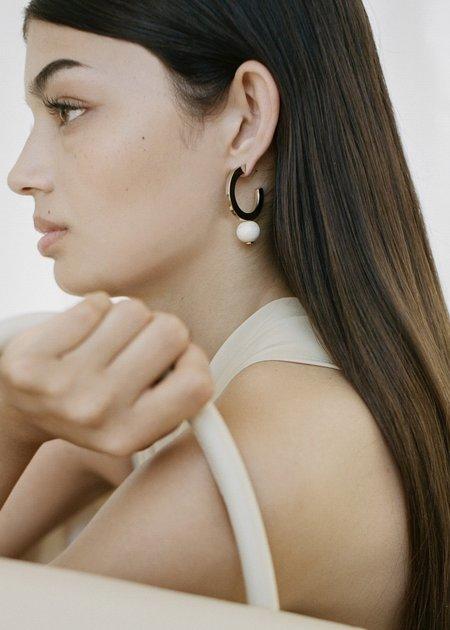Modern Weaving Square Hoop Earrings - Creme Italian Blown Glass